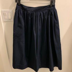 Zara gathered navy taffeta skirt M with pockets!
